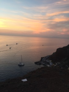 Beautiful sunset in Santorini Greece